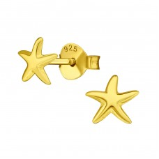 Star - 925 Sterling Silver Plain Ear Studs A4S39028