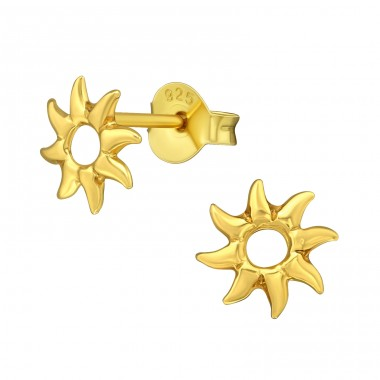 Sun - 925 Sterling Silver Plain Ear Studs A4S39029
