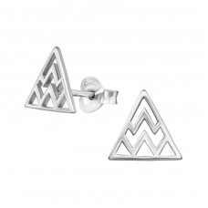 Triangle - 925 Sterling Silver Plain Ear Studs A4S39054