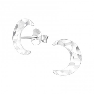 Moon - 925 Sterling Silver Plain Ear Studs A4S39060