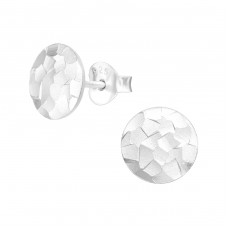 Round - 925 Sterling Silver Plain Ear Studs A4S39062