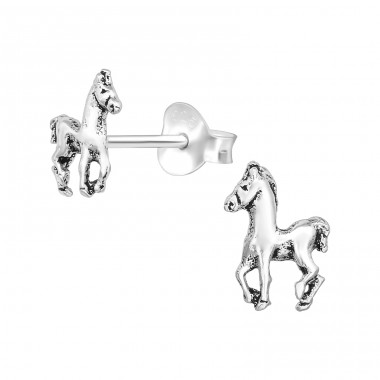 Horse - 925 Sterling Silver Plain Ear Studs A4S39088