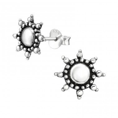 Sun - 925 Sterling Silver Plain Ear Studs A4S39129