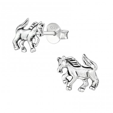 Horse - 925 Sterling Silver Plain Ear Studs A4S39130