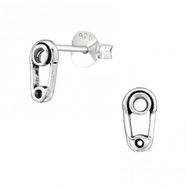 Safety Pin - 925 Sterling Silver Plain Ear Studs A4S39133