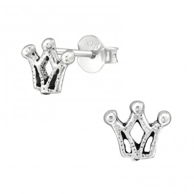 Crown - 925 Sterling Silver Plain Ear Studs A4S39134