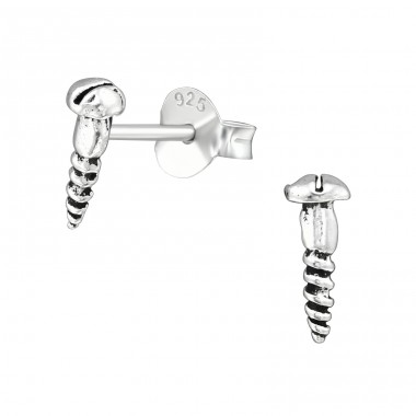 Screw - 925 Sterling Silver Plain Ear Studs A4S39136
