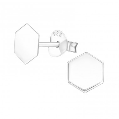 Hexagon - 925 Sterling Silver Plain Ear Studs A4S39145