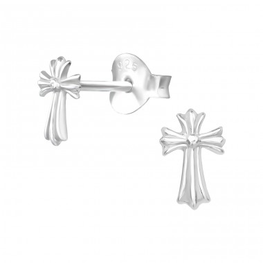 Cross - 925 Sterling Silver Plain Ear Studs A4S39146