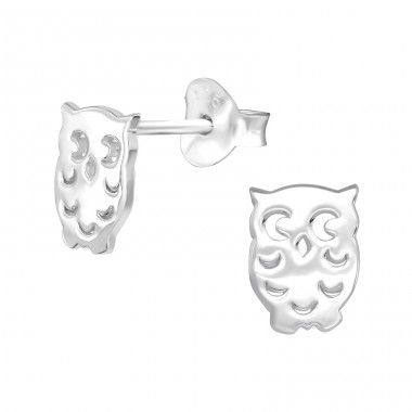 Owl - 925 Sterling Silver Plain Ear Studs A4S39147