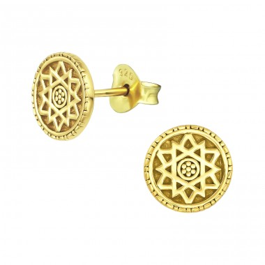Sun - 925 Sterling Silver Plain Ear Studs A4S39151