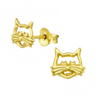 Cat - 925 Sterling Silver Plain Ear Studs A4S39189