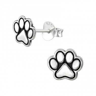 Paw Print - 925 Sterling Silver Plain Ear Studs A4S39193