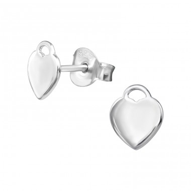 Heart - 925 Sterling Silver Plain Ear Studs A4S39303