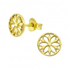 Flower - 925 Sterling Silver Plain Ear Studs A4S39304