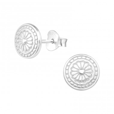 Antique - 925 Sterling Silver Plain Ear Studs A4S39307