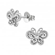 Butterfly - 925 Sterling Silver Plain Ear Studs A4S39318