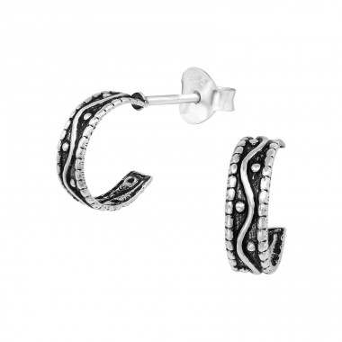 Wave Half Hoop - 925 Sterling Silver Plain Ear Studs A4S39340