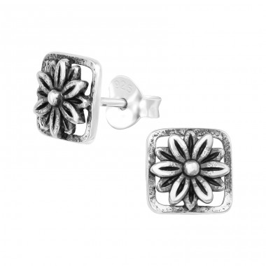 Flower - 925 Sterling Silver Plain Ear Studs A4S39388