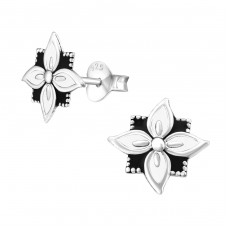 Flower - 925 Sterling Silver Plain Ear Studs A4S39394