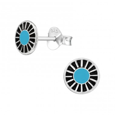 Wheel - 925 Sterling Silver Plain Ear Studs A4S39396