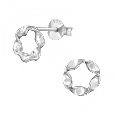 Twisted - 925 Sterling Silver Plain Ear Studs A4S39407