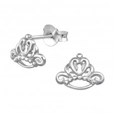 Crown - 925 Sterling Silver Plain Ear Studs A4S39451