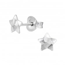 Star - 925 Sterling Silver Plain Ear Studs A4S39455