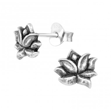 Lotus - 925 Sterling Silver Plain Ear Studs A4S39522