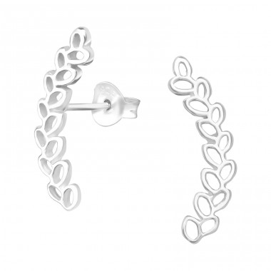 Olive Branch - 925 Sterling Silver Plain Ear Studs A4S39537