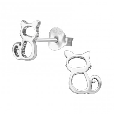 Cat - 925 Sterling Silver Plain Ear Studs A4S39541