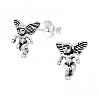Angel - 925 Sterling Silver Plain Ear Studs A4S39556