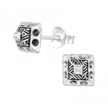 Pyramid - 925 Sterling Silver Plain Ear Studs A4S39557