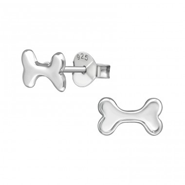 Dog Bone - 925 Sterling Silver Plain Ear Studs A4S39575