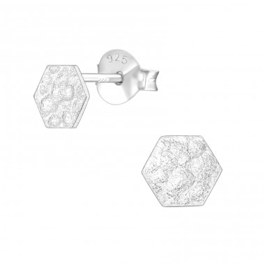 Hexagon - 925 Sterling Silver Plain Ear Studs A4S39577