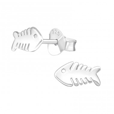 Fishbone - 925 Sterling Silver Plain Ear Studs A4S39579