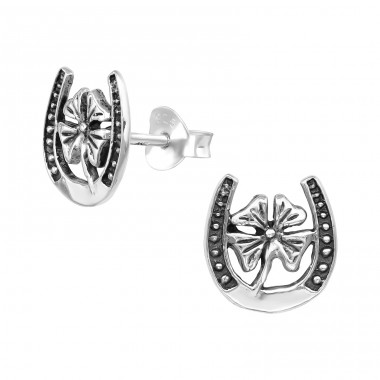 Lucky Clover - 925 Sterling Silver Plain Ear Studs A4S39616