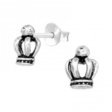 Crown - 925 Sterling Silver Plain Ear Studs A4S39617
