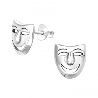 Mask - 925 Sterling Silver Plain Ear Studs A4S39618