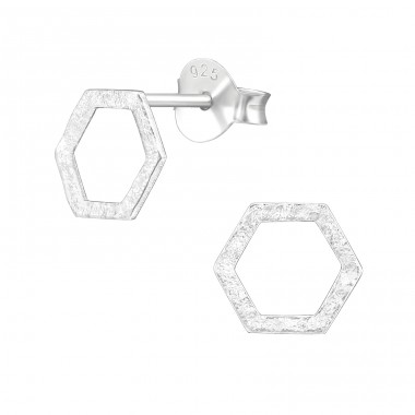 Hexagon - 925 Sterling Silver Plain Ear Studs A4S39639