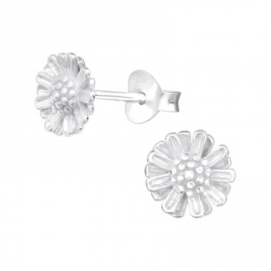Flower - 925 Sterling Silver Plain Ear Studs A4S39650