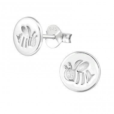 Bee - 925 Sterling Silver Plain Ear Studs A4S39651