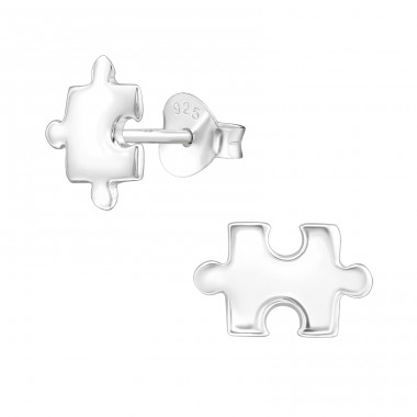 Puzzle - 925 Sterling Silver Plain Ear Studs A4S39654
