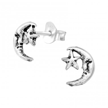 Moon & Star - 925 Sterling Silver Plain Ear Studs A4S39718