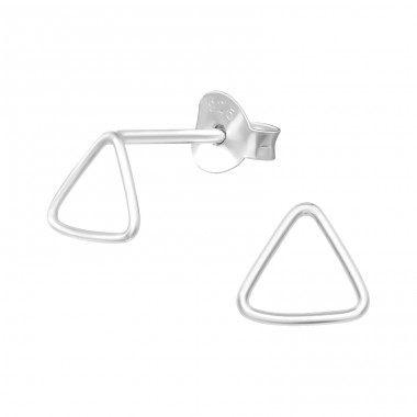 Triangle - 925 Sterling Silver Plain Ear Studs A4S39719