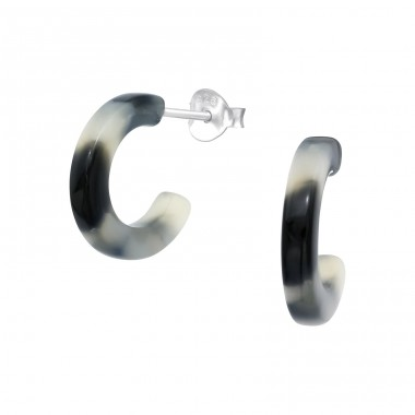 Half Hoop with acrylic - 925 Sterling Silver Plain Ear Studs A4S39740