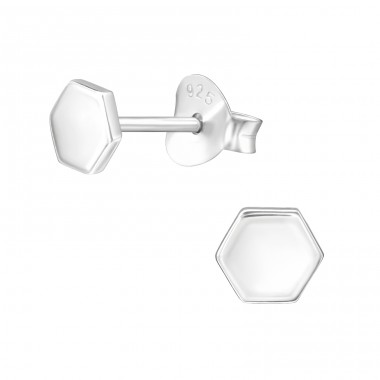 Hexagon - 925 Sterling Silver Plain Ear Studs A4S39808