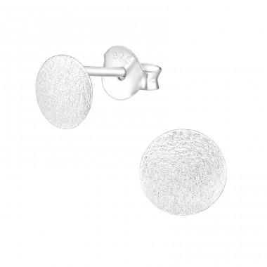 Round - 925 Sterling Silver Plain Ear Studs A4S39811