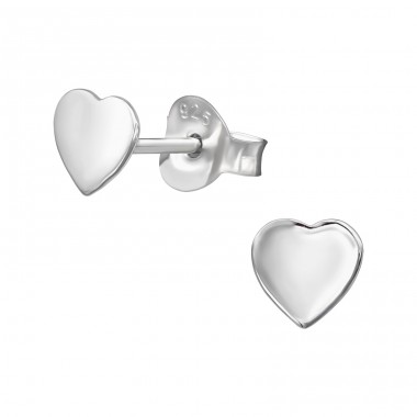 Heart - 925 Sterling Silver Plain Ear Studs A4S39824