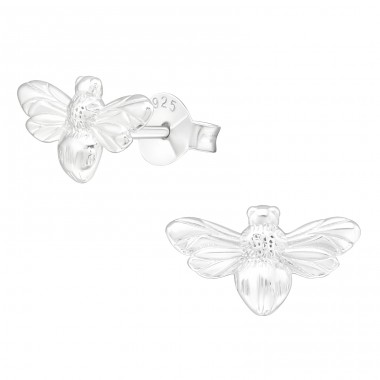 Silver Bee - 925 Sterling Silver Plain Ear Studs A4S39836